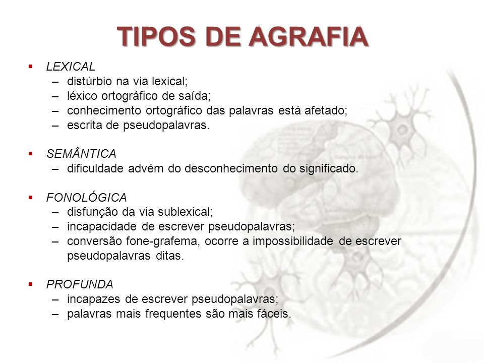 TIPOS DE AGRAFIA LEXICAL distúrbio na via lexical;