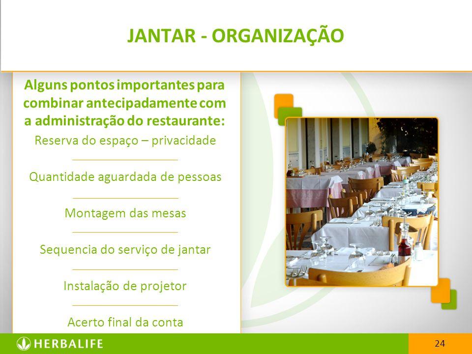 JANTAR - ORGANIZAÇÃO Alguns pontos importantes para combinar antecipadamente com a administração do restaurante: