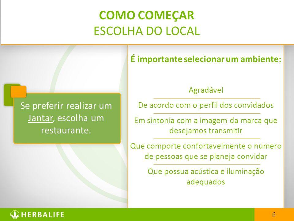 COMO COMEÇAR ESCOLHA DO LOCAL