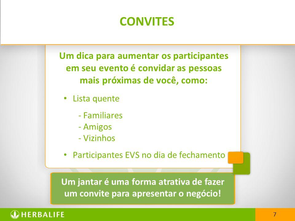 CONVITESUm dica para aumentar os participantes em seu evento é convidar as pessoas mais próximas de você, como: