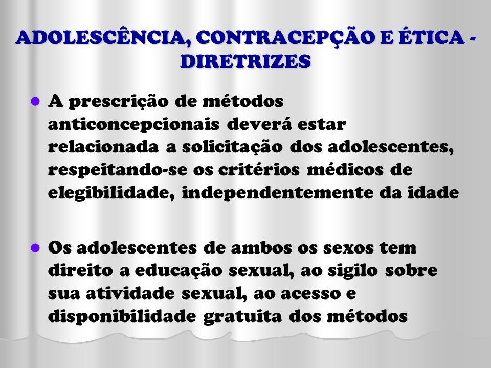 ADOLESCÊNCIA, CONTRACEPÇÃO E ÉTICA - DIRETRIZES