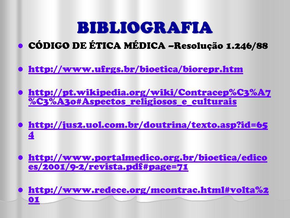 BIBLIOGRAFIA CÓDIGO DE ÉTICA MÉDICA –Resolução 1.246/88