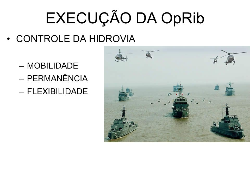 EXECUÇÃO DA OpRib CONTROLE DA HIDROVIA MOBILIDADE PERMANÊNCIA