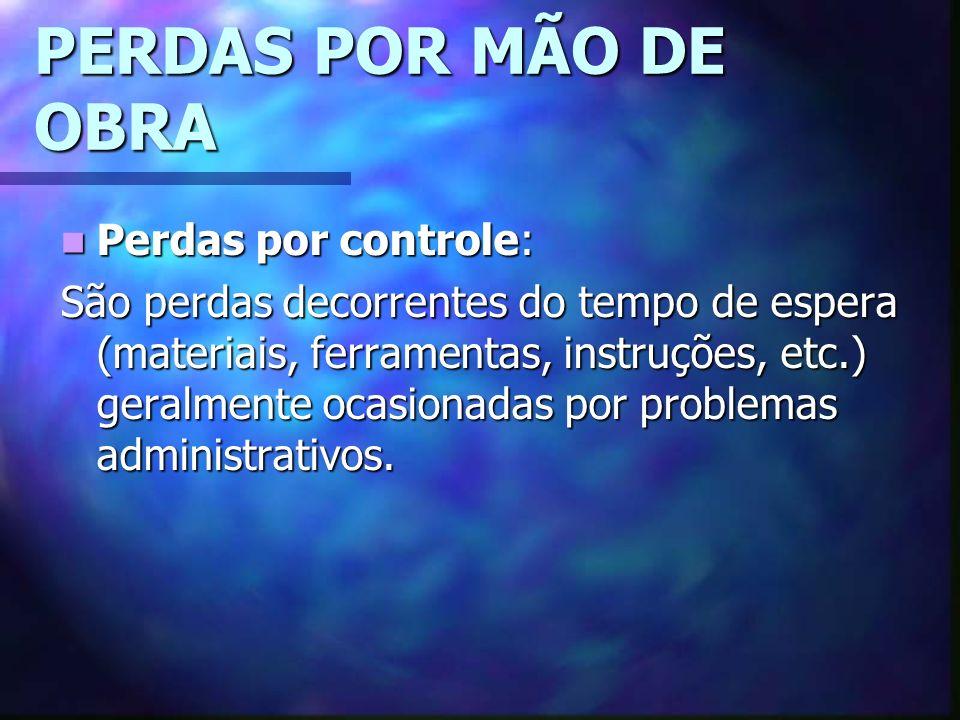 PERDAS POR MÃO DE OBRA Perdas por controle: