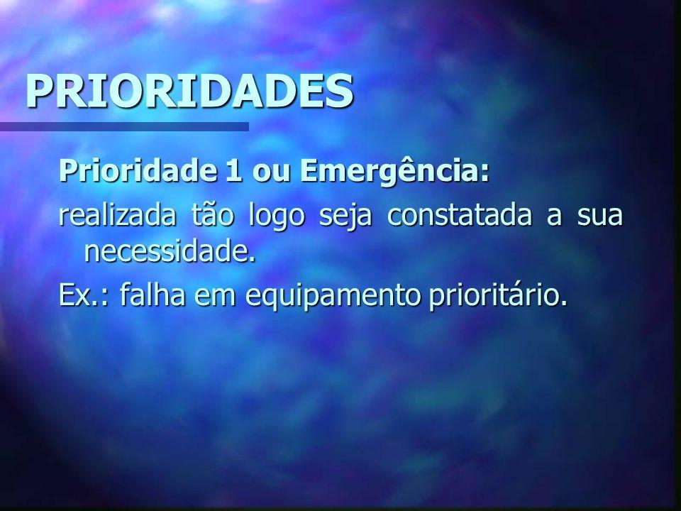 PRIORIDADES Prioridade 1 ou Emergência: