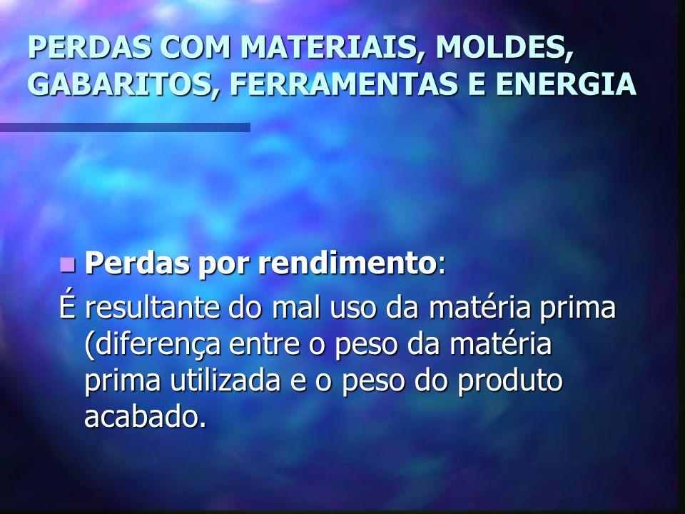 PERDAS COM MATERIAIS, MOLDES, GABARITOS, FERRAMENTAS E ENERGIA