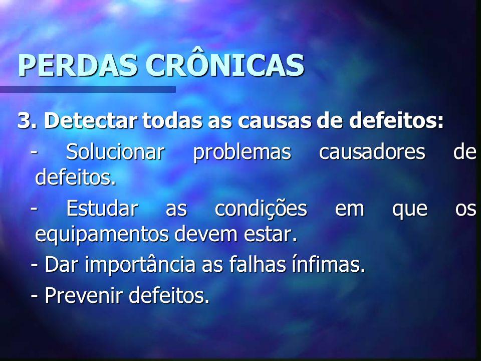 PERDAS CRÔNICAS 3. Detectar todas as causas de defeitos: