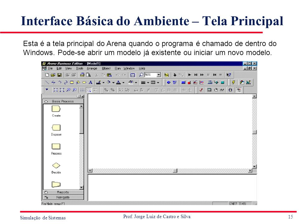 Interface Básica do Ambiente – Tela Principal