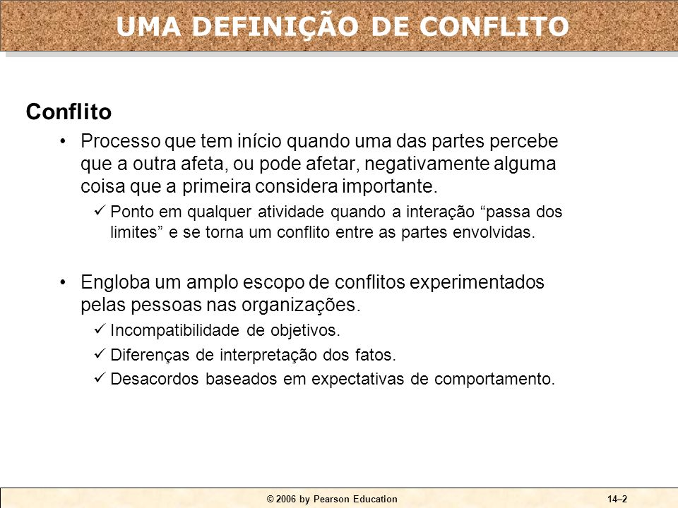 UMA DEFINIÇÃO DE CONFLITO
