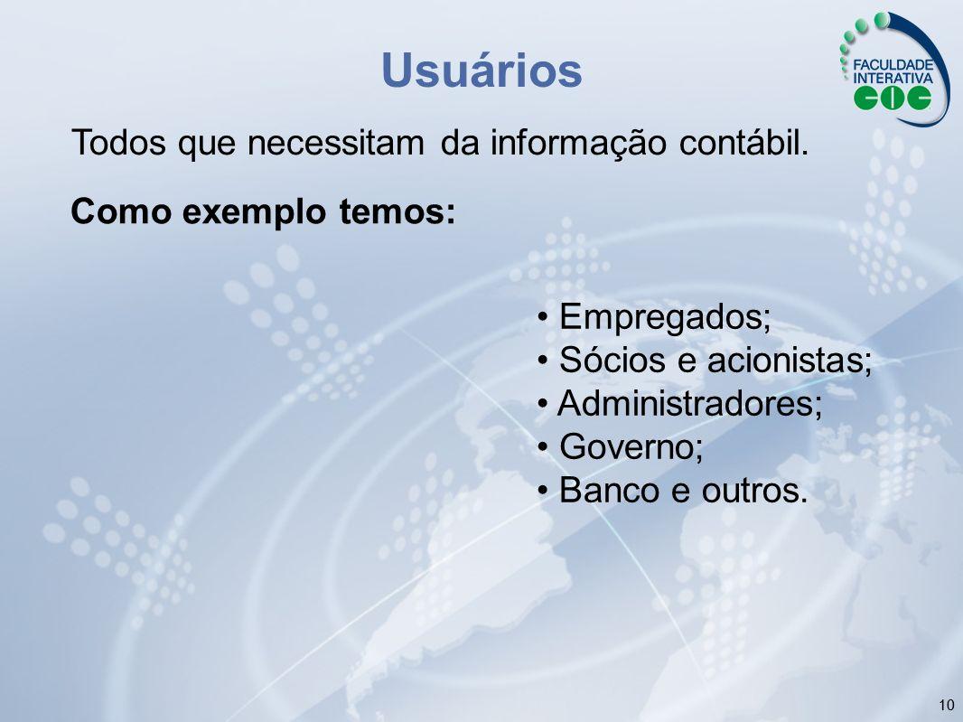 Usuários Todos que necessitam da informação contábil.