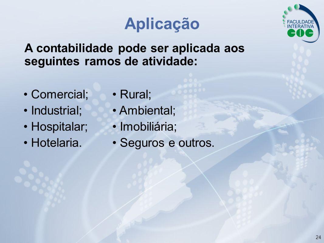 Aplicação A contabilidade pode ser aplicada aos seguintes ramos de atividade: • Comercial; • Industrial;