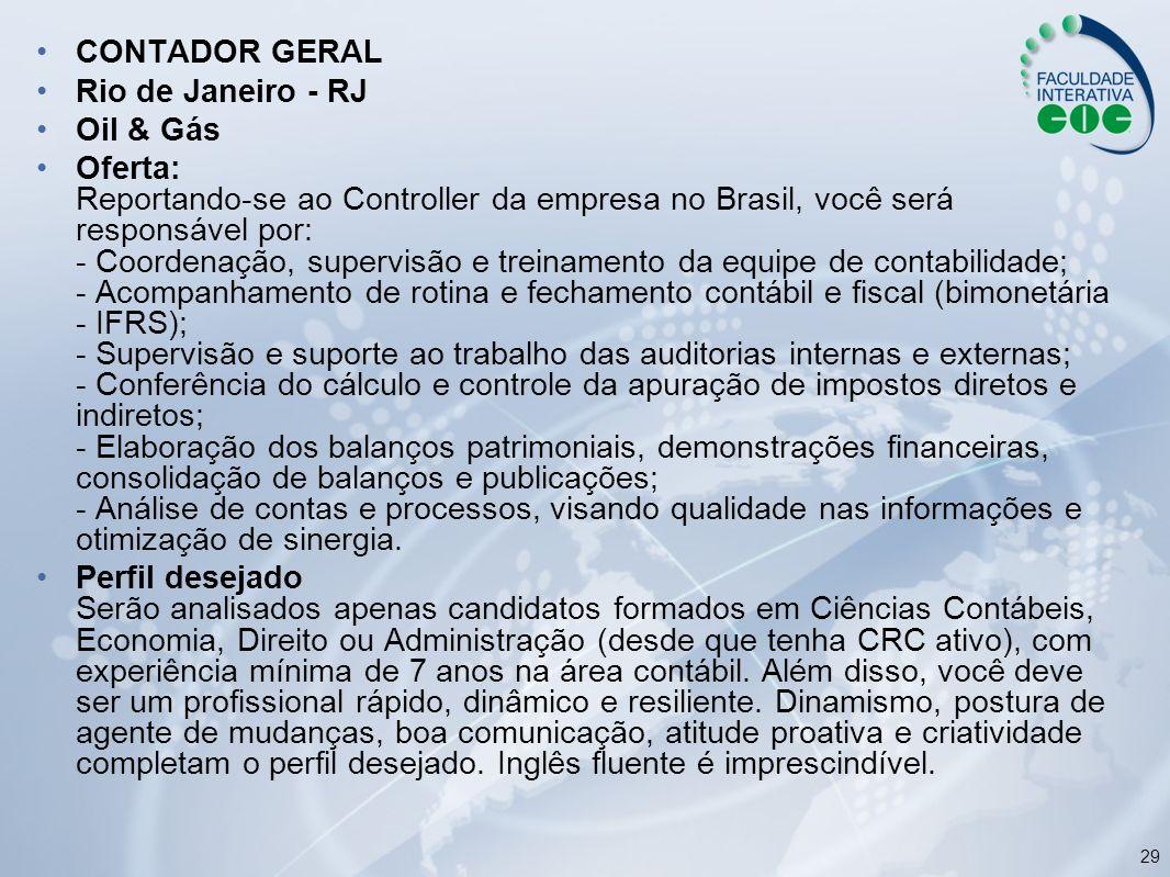 CONTADOR GERAL Rio de Janeiro - RJ. Oil & Gás.