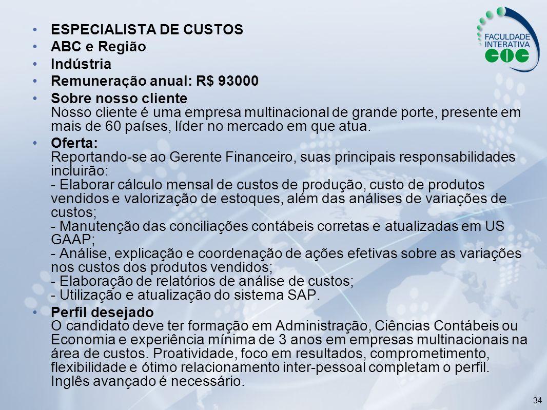ESPECIALISTA DE CUSTOS