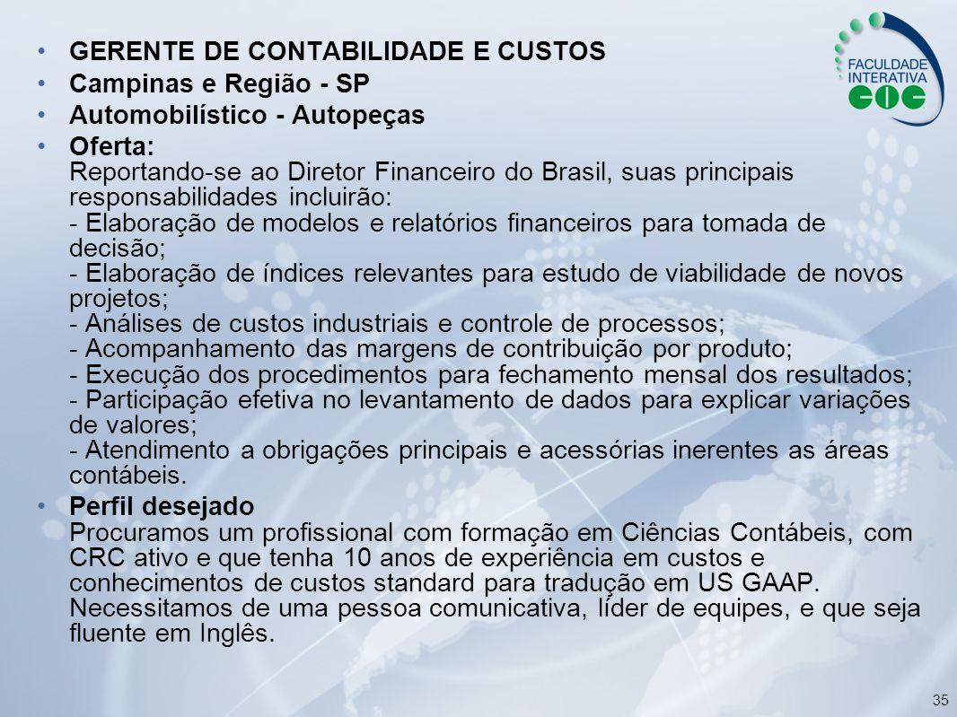 GERENTE DE CONTABILIDADE E CUSTOS
