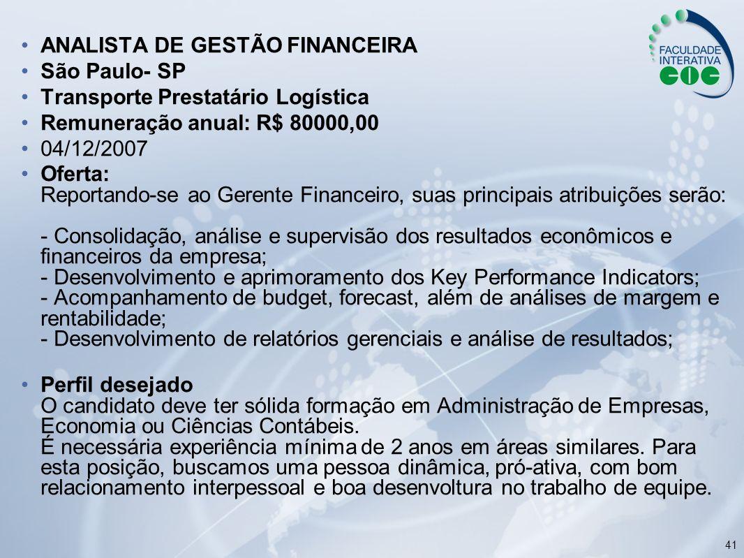 ANALISTA DE GESTÃO FINANCEIRA