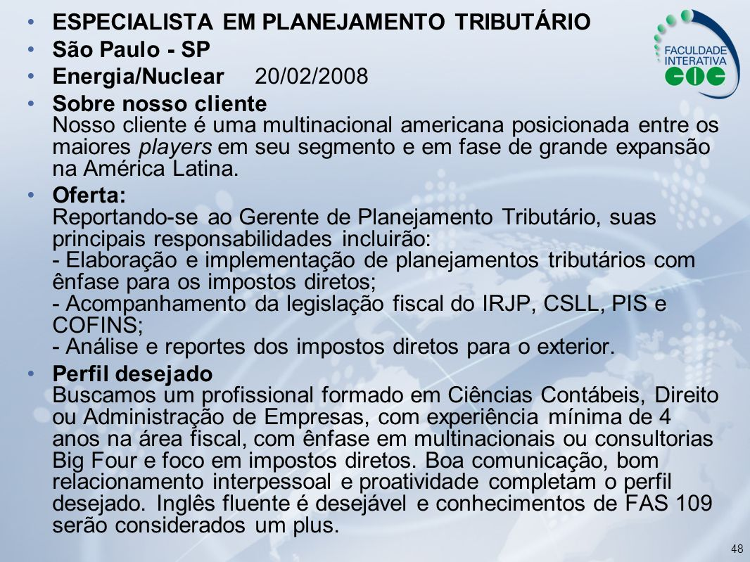 ESPECIALISTA EM PLANEJAMENTO TRIBUTÁRIO