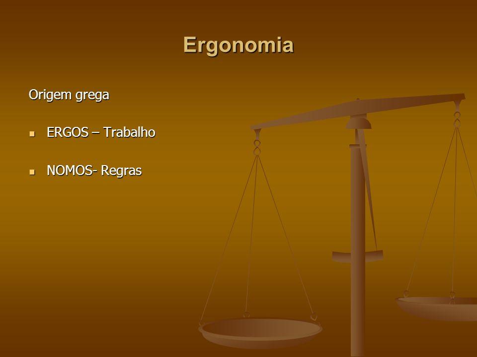 Ergonomia Origem grega ERGOS – Trabalho NOMOS- Regras