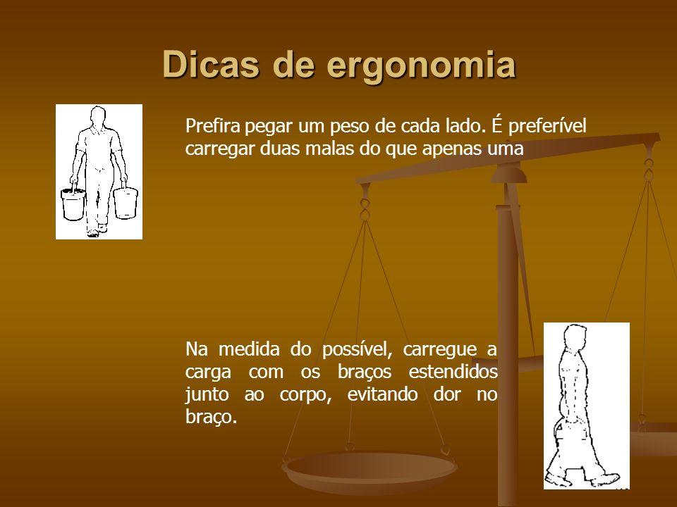 Dicas de ergonomiaPrefira pegar um peso de cada lado. É preferível carregar duas malas do que apenas uma.