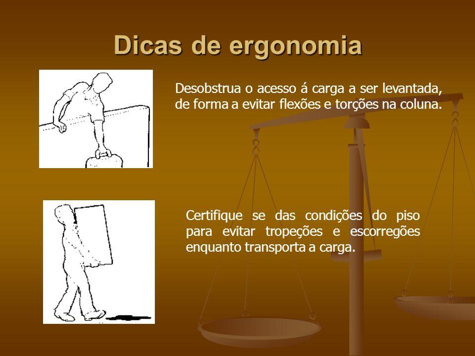 Dicas de ergonomiaDesobstrua o acesso á carga a ser levantada, de forma a evitar flexões e torções na coluna.