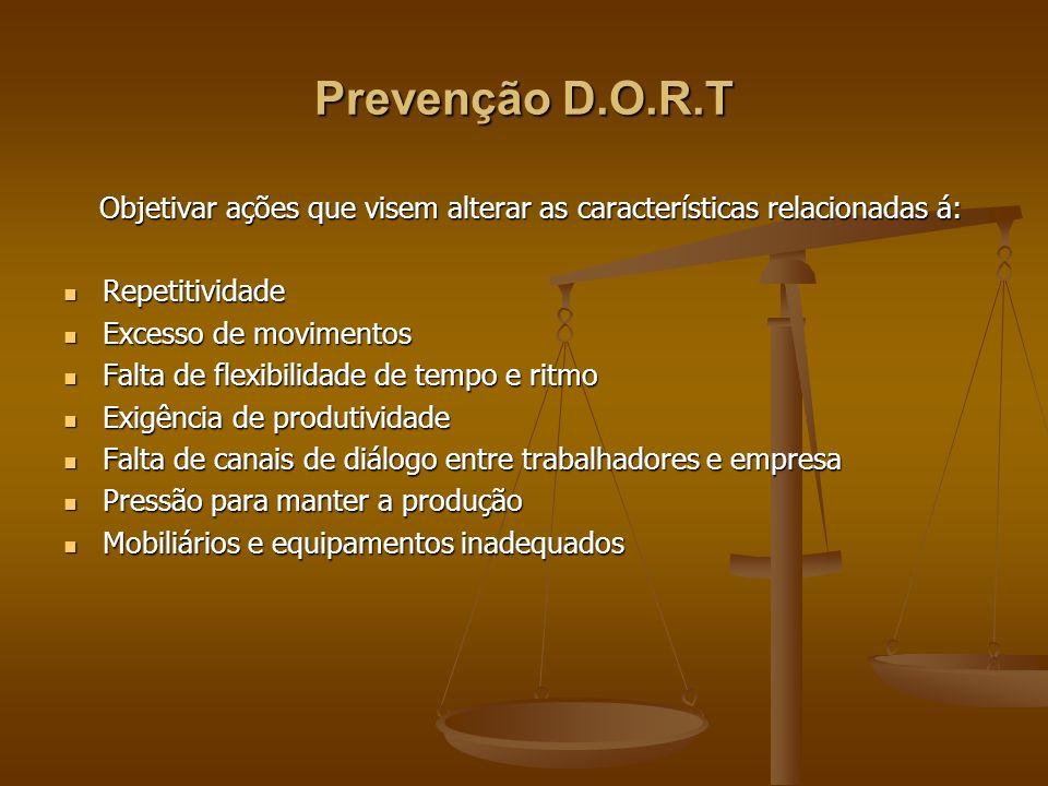 Prevenção D.O.R.T Objetivar ações que visem alterar as características relacionadas á: Repetitividade.
