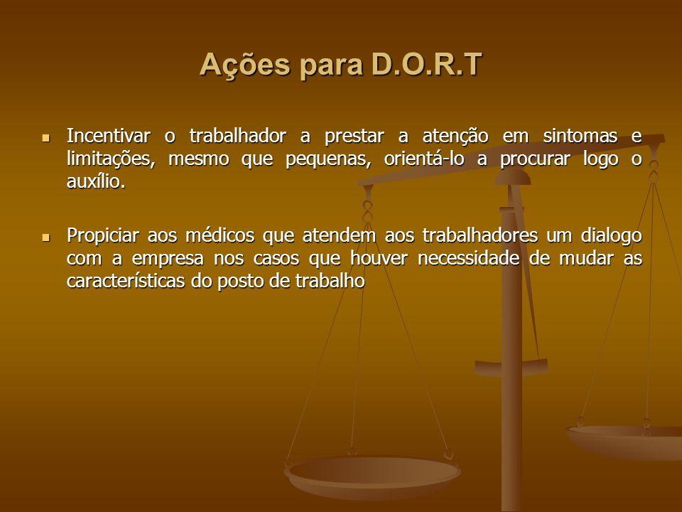 Ações para D.O.R.T Incentivar o trabalhador a prestar a atenção em sintomas e limitações, mesmo que pequenas, orientá-lo a procurar logo o auxílio.