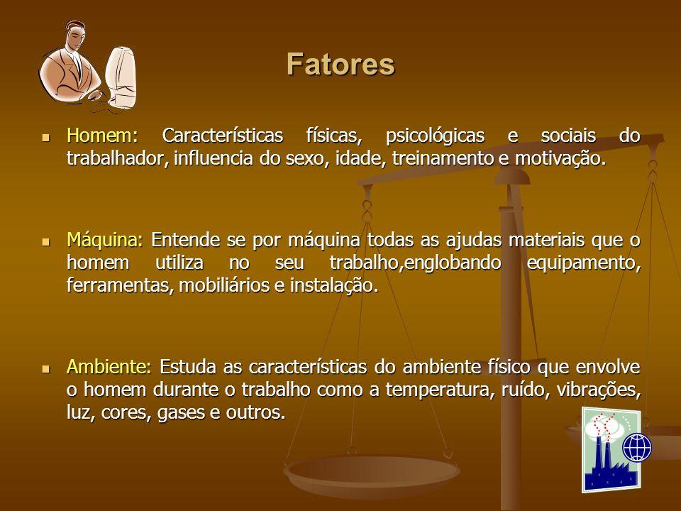 FatoresHomem: Características físicas, psicológicas e sociais do trabalhador, influencia do sexo, idade, treinamento e motivação.