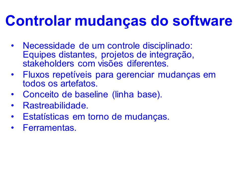 Controlar mudanças do software
