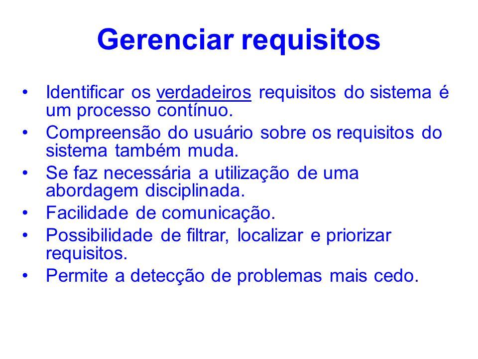 Gerenciar requisitos Identificar os verdadeiros requisitos do sistema é um processo contínuo.
