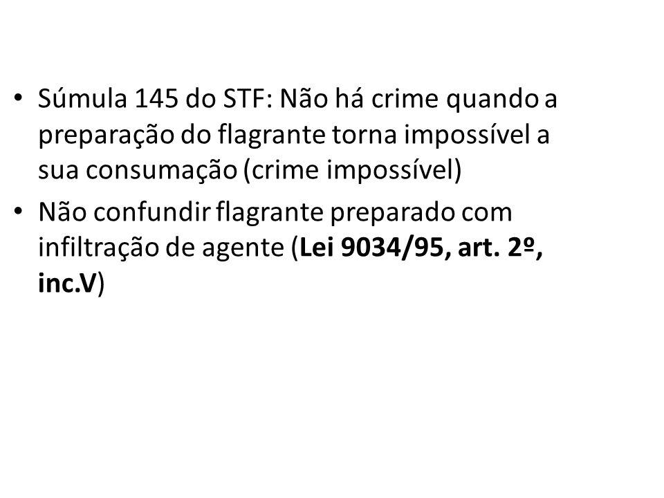 Súmula 145 do STF: Não há crime quando a preparação do flagrante torna impossível a sua consumação (crime impossível)