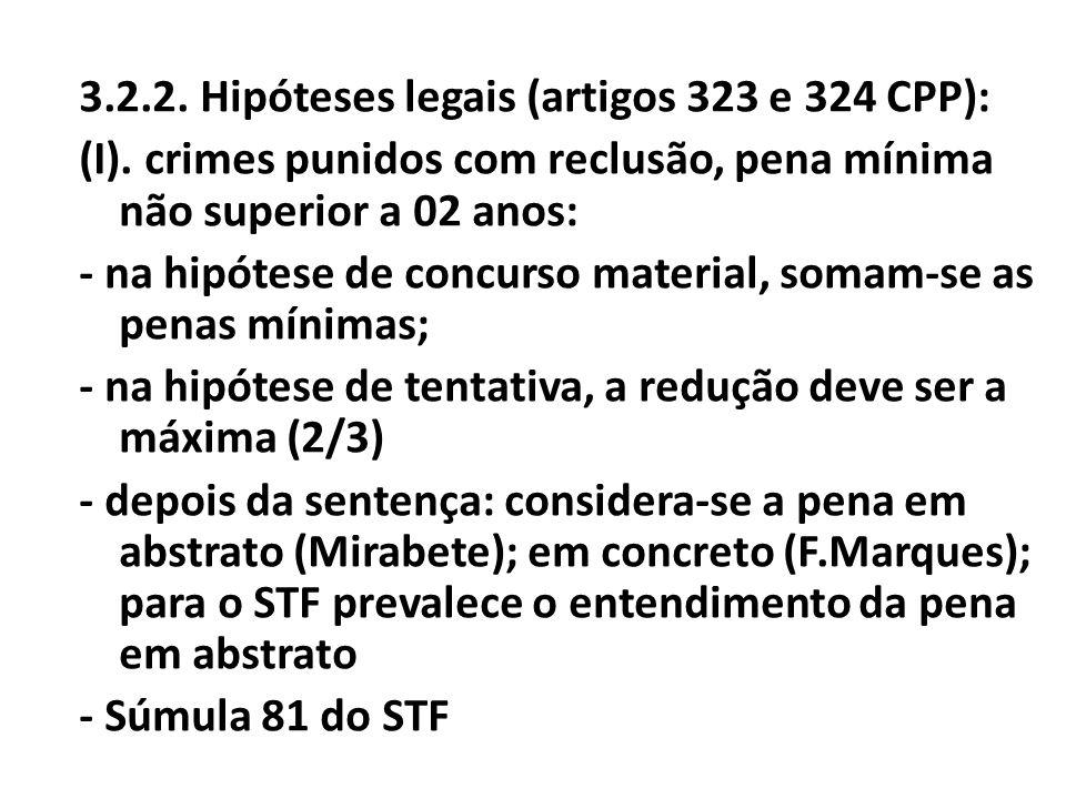 3. 2. 2. Hipóteses legais (artigos 323 e 324 CPP): (I)