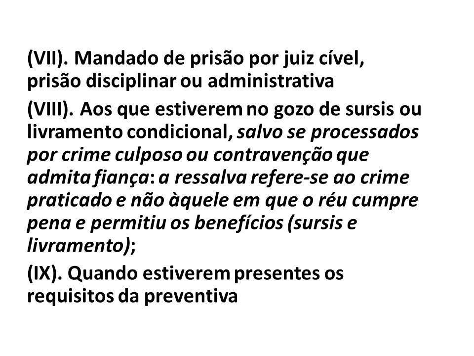 (VII). Mandado de prisão por juiz cível, prisão disciplinar ou administrativa (VIII).