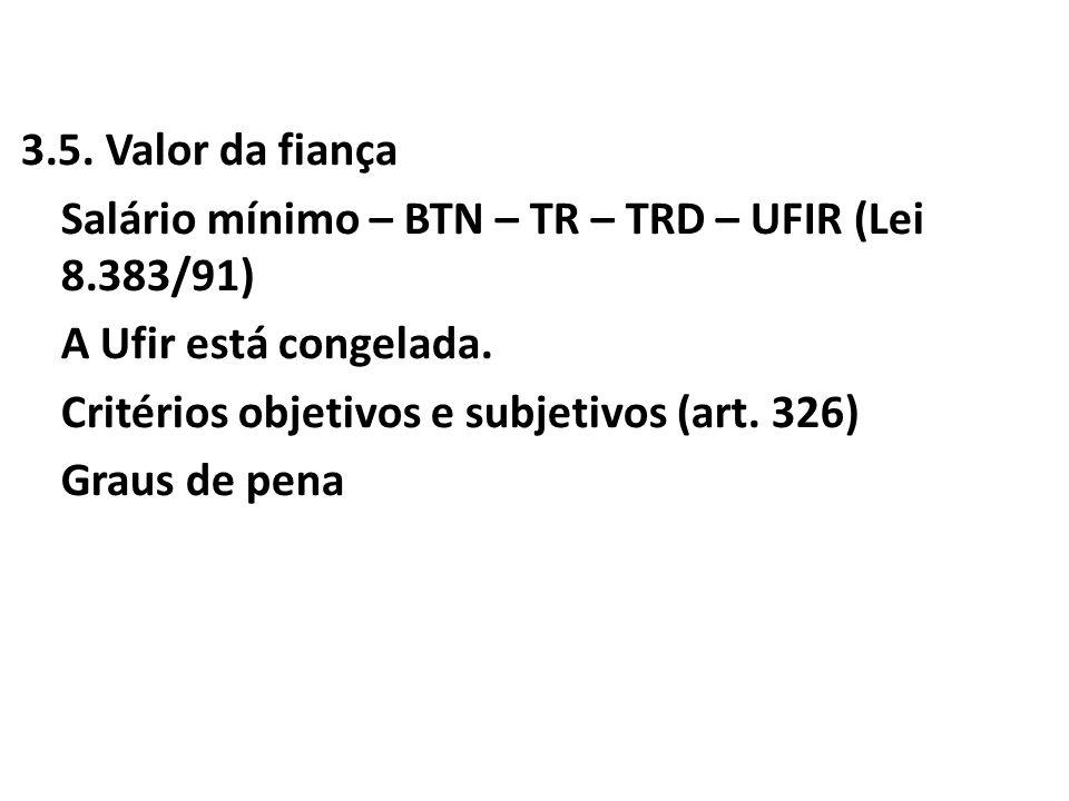 3. 5. Valor da fiança Salário mínimo – BTN – TR – TRD – UFIR (Lei 8