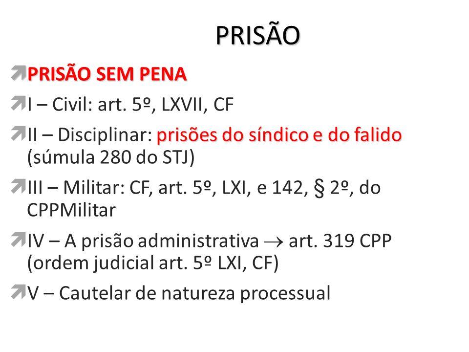 PRISÃO PRISÃO SEM PENA I – Civil: art. 5º, LXVII, CF