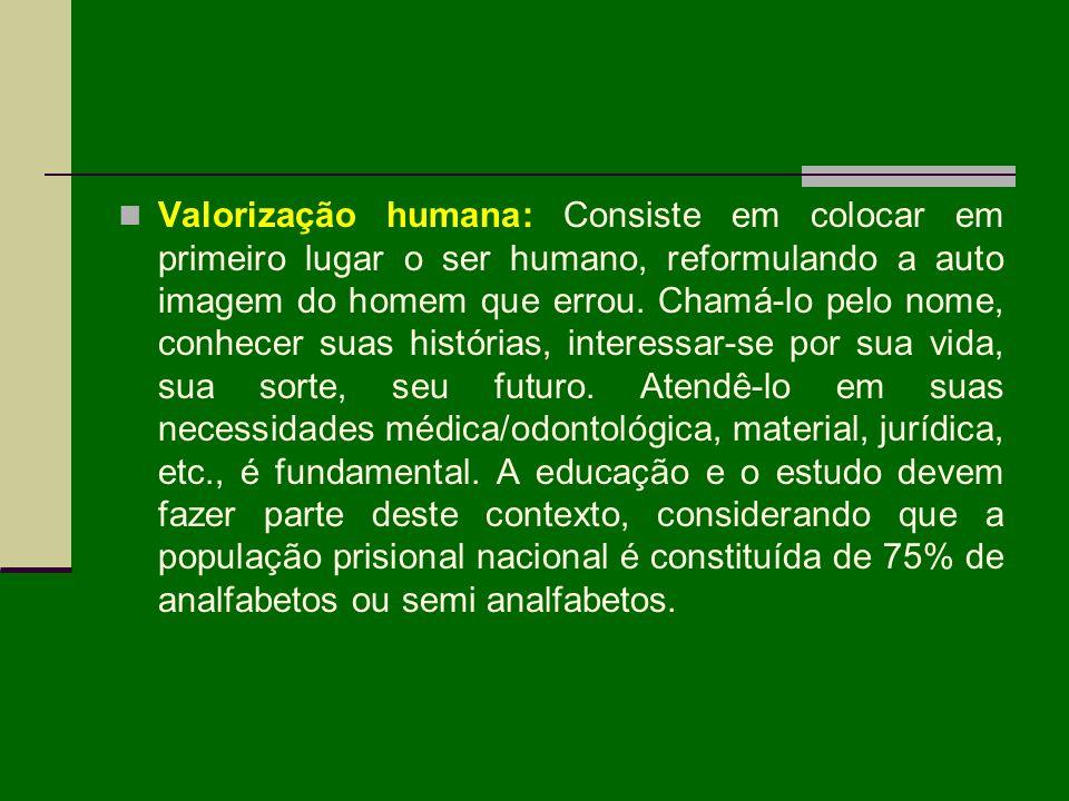 Valorização humana: Consiste em colocar em primeiro lugar o ser humano, reformulando a auto imagem do homem que errou.