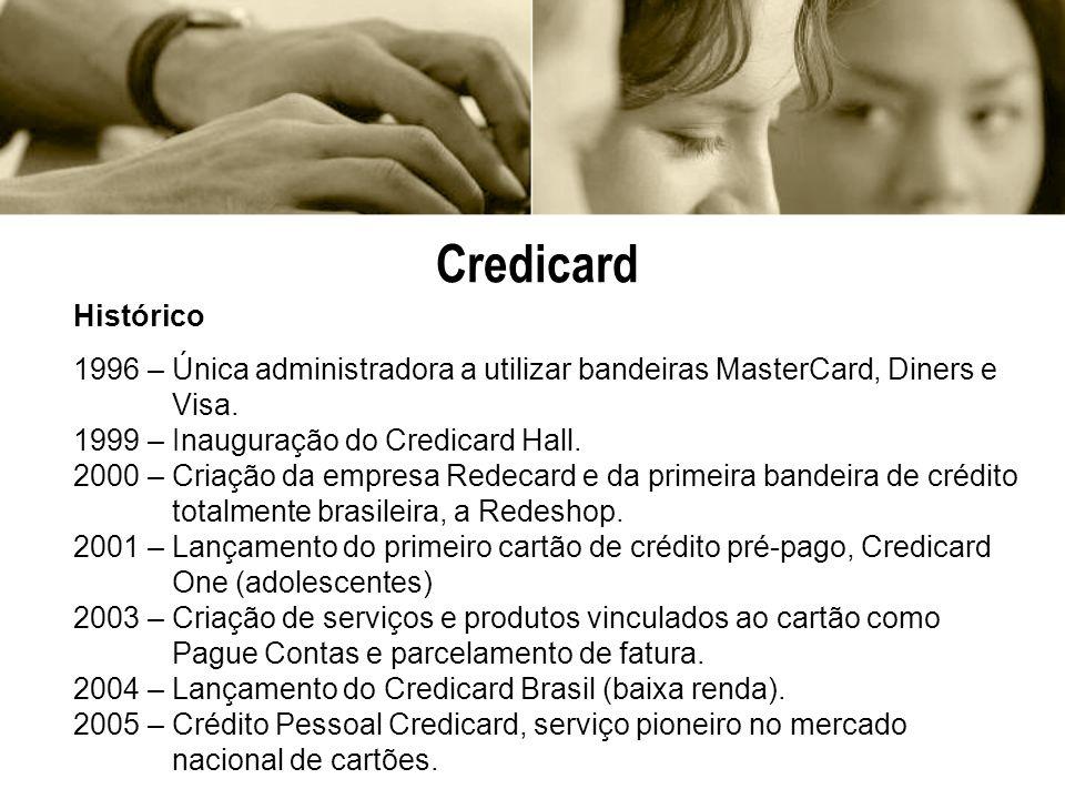Credicard Histórico. 1996 – Única administradora a utilizar bandeiras MasterCard, Diners e. Visa.