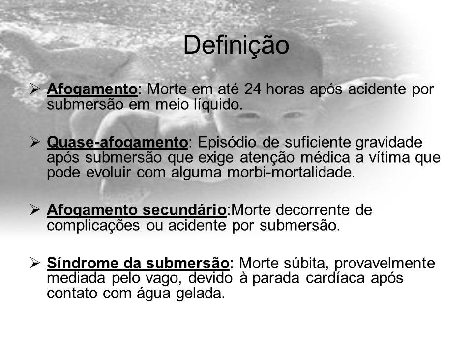 DefiniçãoAfogamento: Morte em até 24 horas após acidente por submersão em meio líquido.