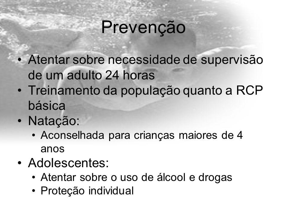 Prevenção Atentar sobre necessidade de supervisão de um adulto 24 horas. Treinamento da população quanto a RCP básica.
