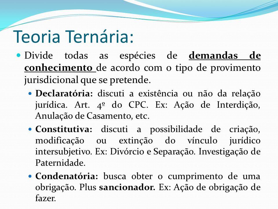 Teoria Ternária: Divide todas as espécies de demandas de conhecimento de acordo com o tipo de provimento jurisdicional que se pretende.