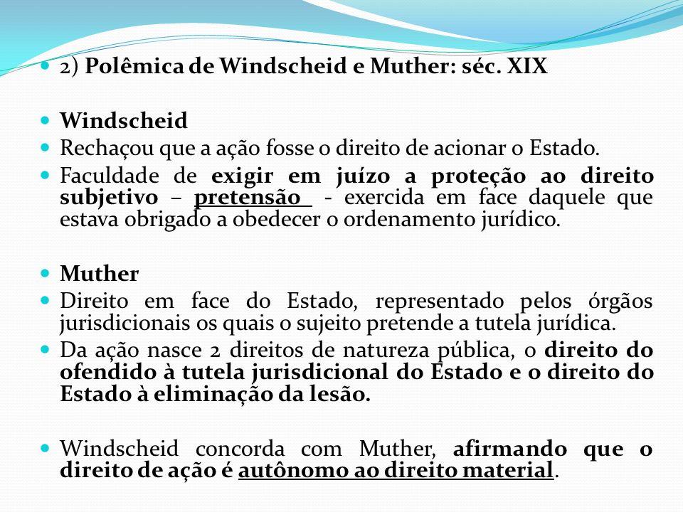 2) Polêmica de Windscheid e Muther: séc. XIX