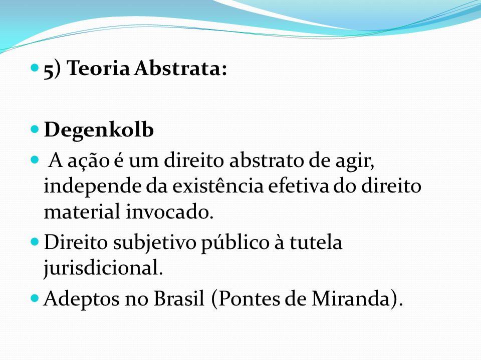 5) Teoria Abstrata: Degenkolb. A ação é um direito abstrato de agir, independe da existência efetiva do direito material invocado.