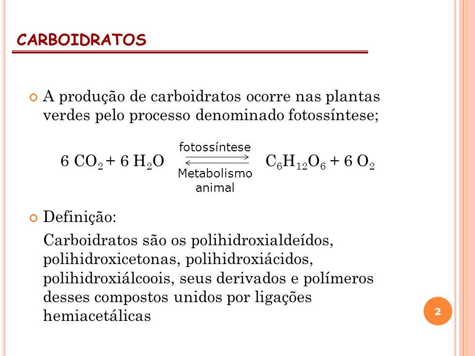 CARBOIDRATOS A produção de carboidratos ocorre nas plantas verdes pelo processo denominado fotossíntese;