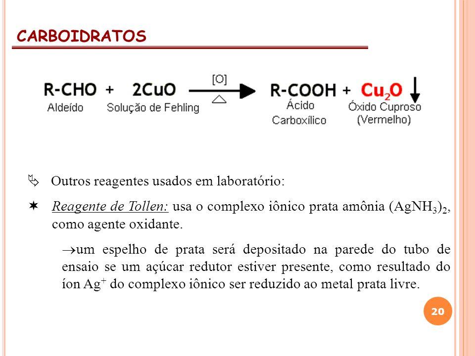 CARBOIDRATOS  Outros reagentes usados em laboratório: