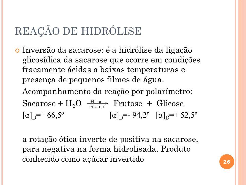 REAÇÃO DE HIDRÓLISE