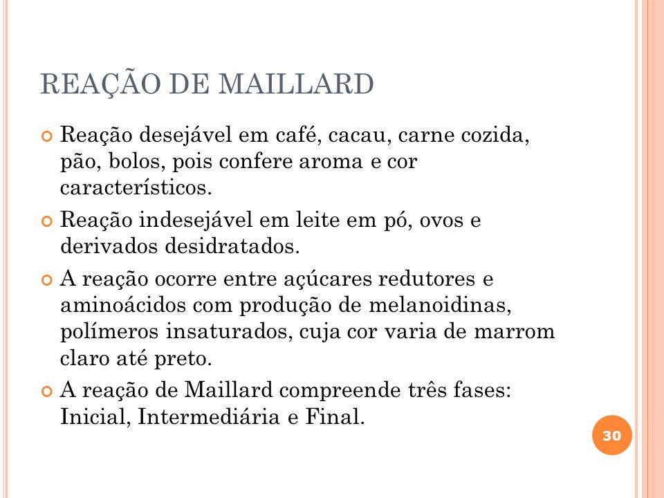REAÇÃO DE MAILLARD Reação desejável em café, cacau, carne cozida, pão, bolos, pois confere aroma e cor característicos.