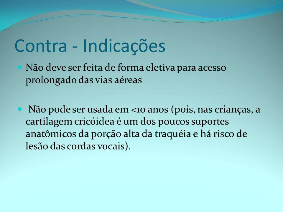 Contra - IndicaçõesNão deve ser feita de forma eletiva para acesso prolongado das vias aéreas.