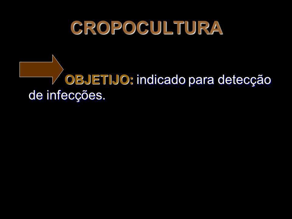 CROPOCULTURA OBJETIJO: indicado para detecção de infecções.