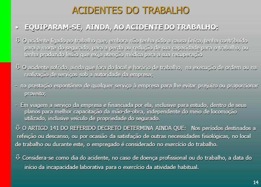 ACIDENTES DO TRABALHO EQUIPARAM-SE, AINDA, AO ACIDENTE DO TRABALHO: