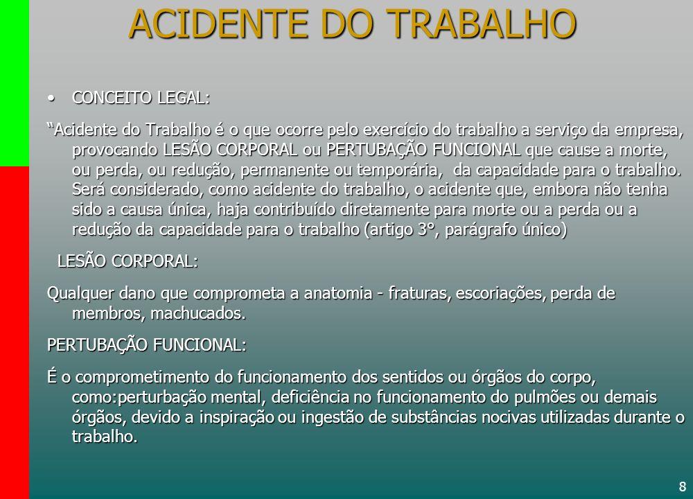 ACIDENTE DO TRABALHO CONCEITO LEGAL: