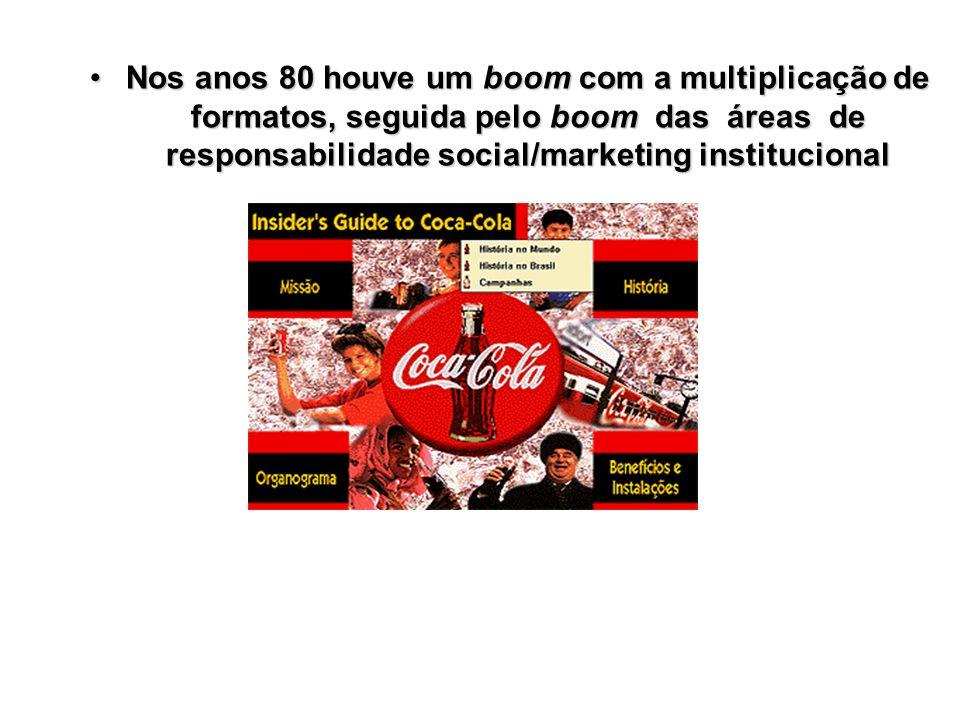 Nos anos 80 houve um boom com a multiplicação de formatos, seguida pelo boom das áreas de responsabilidade social/marketing institucional