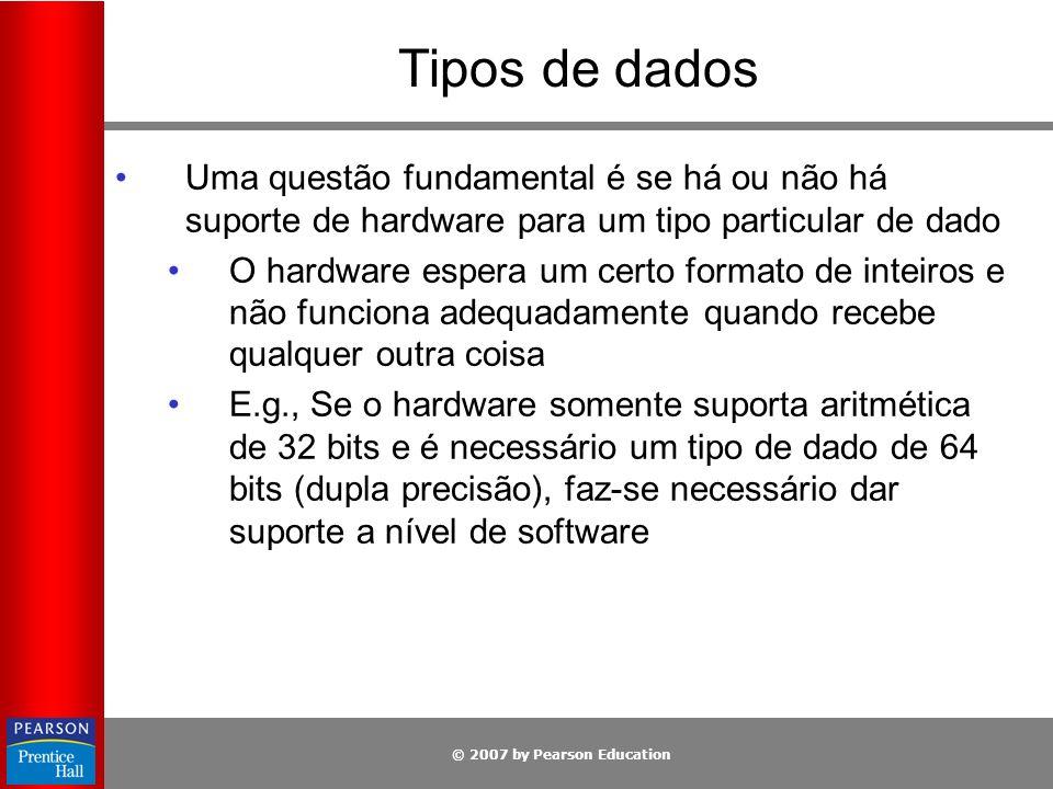 Tipos de dados Uma questão fundamental é se há ou não há suporte de hardware para um tipo particular de dado.